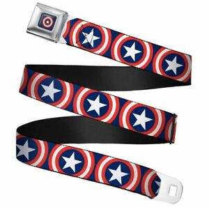 Marvel-Captain-America-Shield-Repeat-Navy-Webbing-Seatbelt-Buckle-Belt-20-36-034