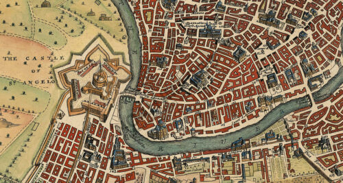 Map of Rome vintage map print 24x20