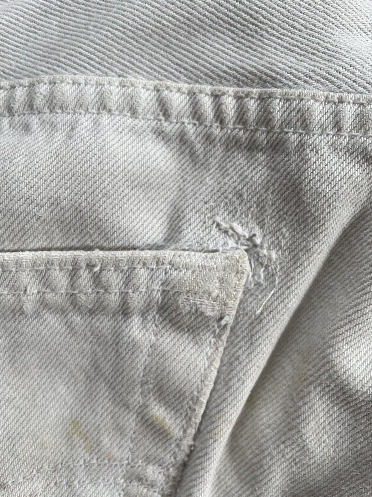 Vintage Levi's 501 Custom Distressed White Denim … - image 9