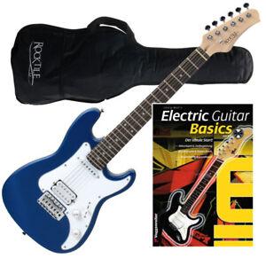 electric guitar set junior size 3 4 6 string 22 frets gigbag matt finish blue ebay. Black Bedroom Furniture Sets. Home Design Ideas