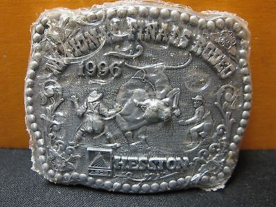 1987 Vintage Hesston National Finals Rodeo Youth Size Belt Buckle FREE SHIPPING