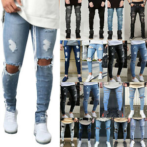 Men-Ripped-Biker-Skinny-Jeans-Frayed-Destroyed-Trousers-Stretch-Slim-Denim-Pants