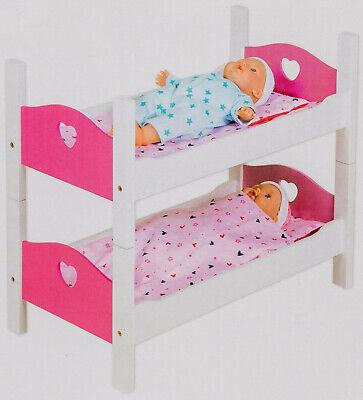 Holz Etagenbett Puppenbett Stapelbett Bett Zubehör Weiß//Pink