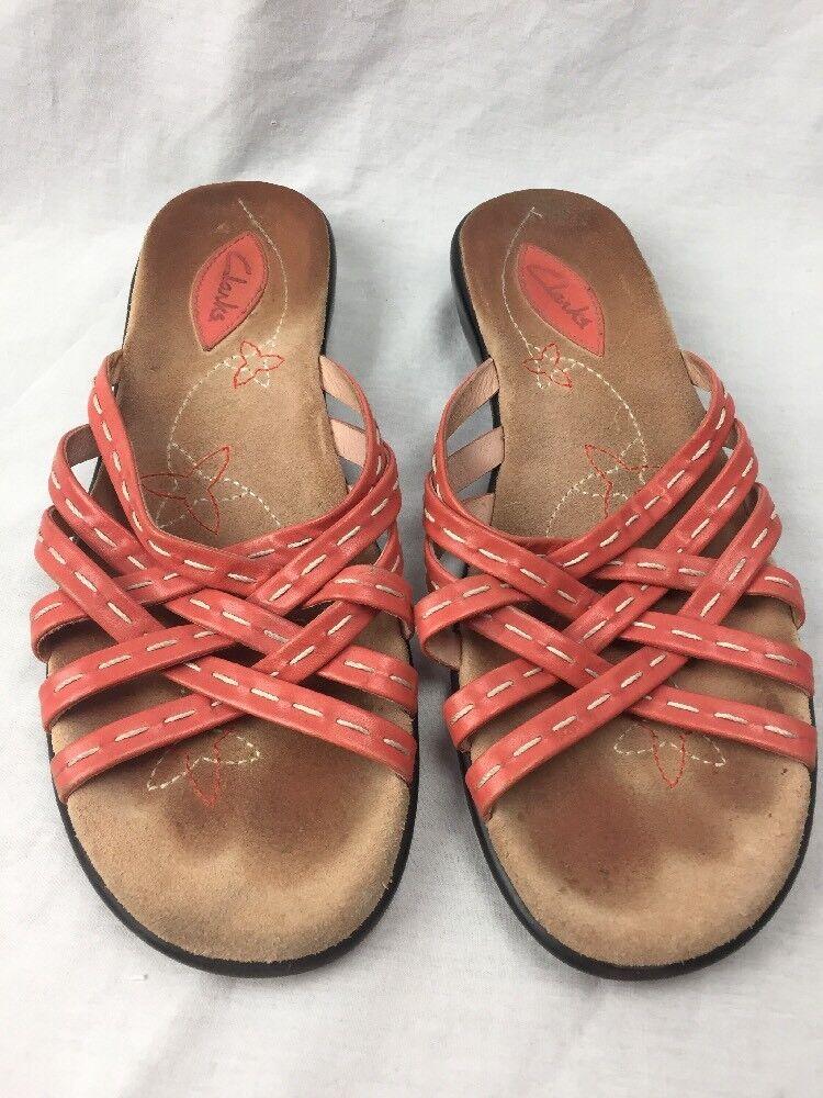 CLARKS Comfort Womens Peach Slip On Comfort CLARKS Sandals Size 6 1/2 ae45fe