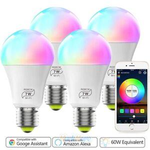 4Pack RGBW Dimmable LED WiFi Smart Lights Bulb 7W Fits Alexa Google Home & IFTTT