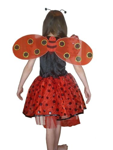 GIRLS LADY BUG LADY BIRD WITH WINGS AND ALICE BAND FANCY DRESS COSTUME