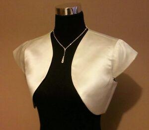 Ivory-Cream-Satin-Short-Sleeved-Bolero-Shrug-Jacket-Stole-Shawl-Wrap-UK-4-22