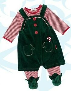 NEW-Le-Top-Baby-Boy-Santa-039-s-Helper-Footed-Coverall-amp-Elf-Overall-Sz3-Months-NWT
