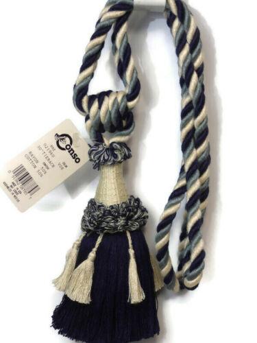 """Conso Empress 21960 V08 DARK NAVY BLUE NATURAL 6/"""" Tassel Curtain Drapery Tieback"""