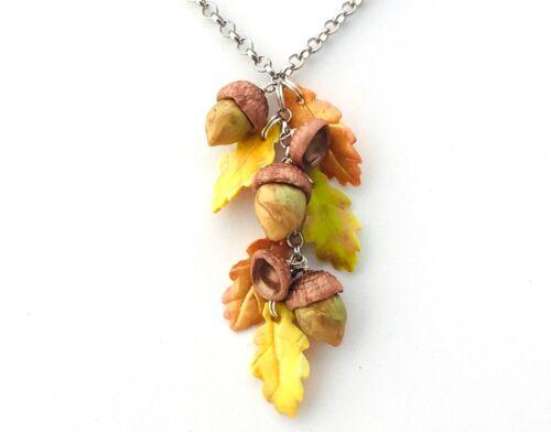 fall handmade autumn boho Acorn and Oak leaf necklace Long necklace