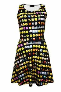 04542094bc Emoji Emoticons Smile Icons Printed Fit   Flared Sleeveless Skater ...