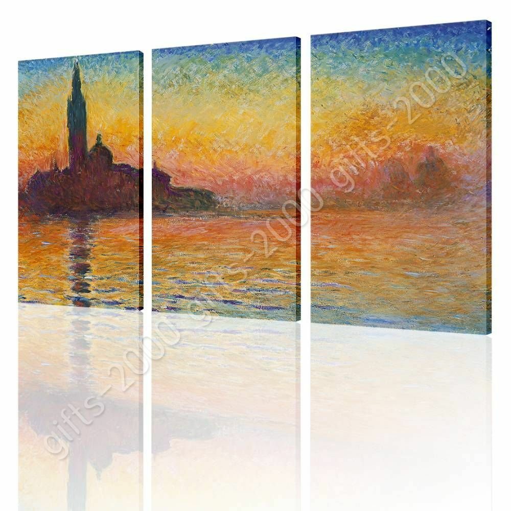 San Giorgio Maggiore At Dusk by Claude Monet   Canvas (Rolled)   3 Panels Wand