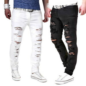 Mens-Hip-Ripped-Frayed-Denim-Jeans-Long-Pants-Skinny-Slim-Casual-Trousers