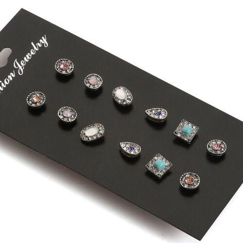 12 Pairs Rhinestone Crystal Pearl Set Women Ear Stud Earrings Fashion Jewelry