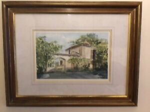 Framed-original-Signed-watercolour-painting-David-N-Waite-old-Italian-Courtyard