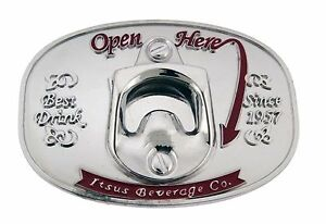 Bottle Opener Belt Buckle Open Here Can Opener Metal Silver Fashion ... 6ad903d271
