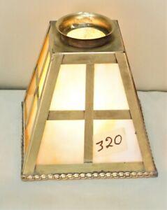 Antique-Mission-Arts-amp-Crafts-Style-Slag-Glass-Shade-Brass-Frame