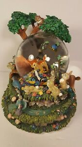 DISNEY-BAMBI-034-LITTLE-APRIL-FLOWERS-034-ANIMATED-ELABORATE-SNOWGLOBE-RARE-AND-LARGE