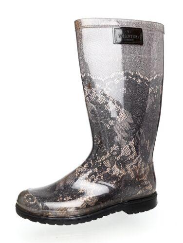 Valentino Garavani Lace Print Rain Boot Grey Women