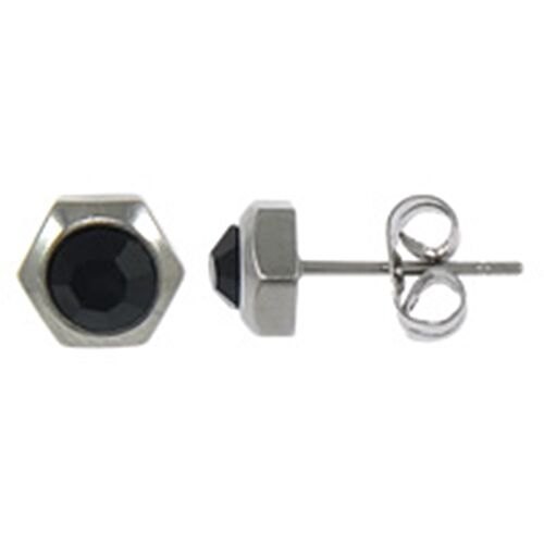 Simple Black Rhinestone Hexagon 6mm Stainless Steel Post Stud Earrings Ebay
