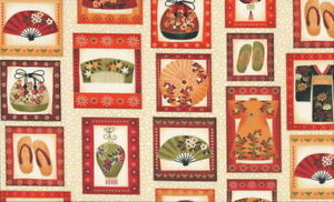 SALE-Makower-UK-Kimono-Patchwork-837-Q-w-Gold-Metallic-Cotton-Fabric-BTY