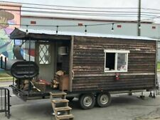 Log Cabin 85 X 19 Bbq Concession Trailer With Porch Used Barbecue Pit For S