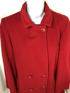 b8cc78f12122 LL Bean Vintage Womens Red Double-Breasted Peacoat Heavy Winter Wool ...