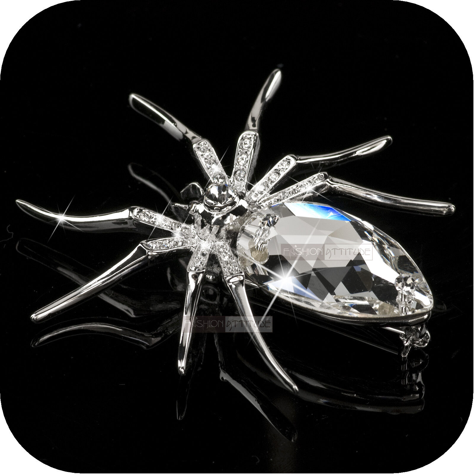 f4d43efbb31 18k white gold gp made with clear swarovski crystal luxury spider brooch  fashion