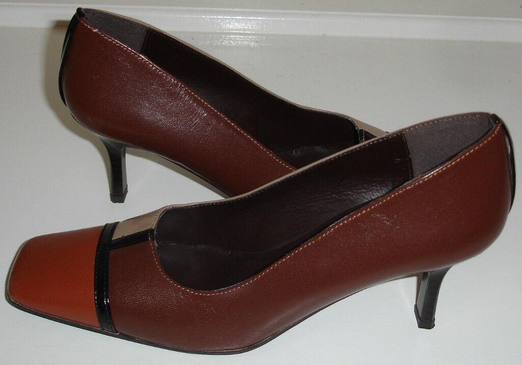 Desmo Multi marrón cuero cuero cuero zapatos 7.5 B Italia Cómoda  cómodo