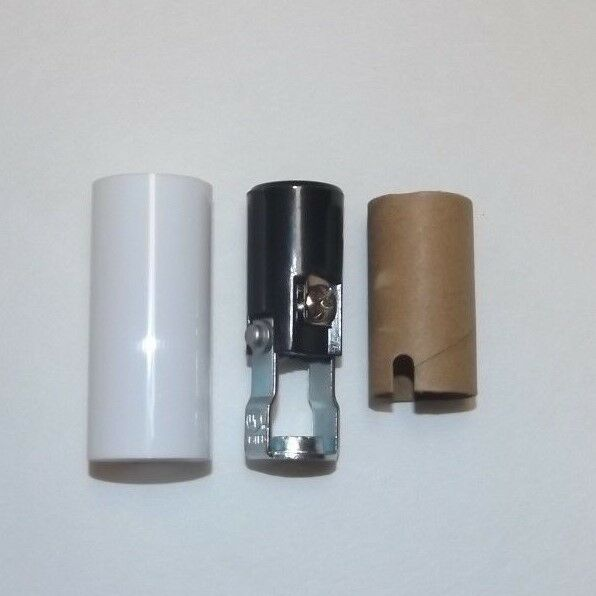 """2"""" TALL KEYLESS CANDELABRA SOCKET WITH WHITE CANDLE COVER LAMP PART 307125J"""