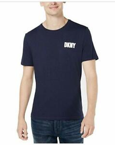 DKNY-Mens-T-Shirt-Blue-Size-Large-L-Crewneck-Logo-Print-Graphic-Tee