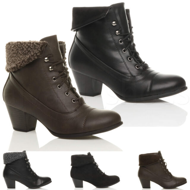 68bbefed062 WOMENS LADIES MID HEEL LACE UP VINTAGE FUR CUFF WINTER PIXIE ANKLE BOOTS  SIZE