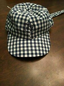 K-NWT-Lauren-James-Blue-White-Gingham-Adjustable-Bow-Baseball-Cap-Hat