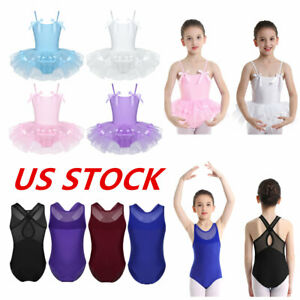US Girls Ballet Dress Leotards Toddler Gymnastics Tutu Skirts Costumes Dancewear