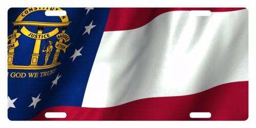 GEORGIA STATE Flag Custom License Plate National Emblem WAVE Version