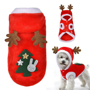 Christmas-Winter-Dog-Clothes-Costume-Fleece-Elk-Tree-Dog-Coat-Jacket-Hooded-Red