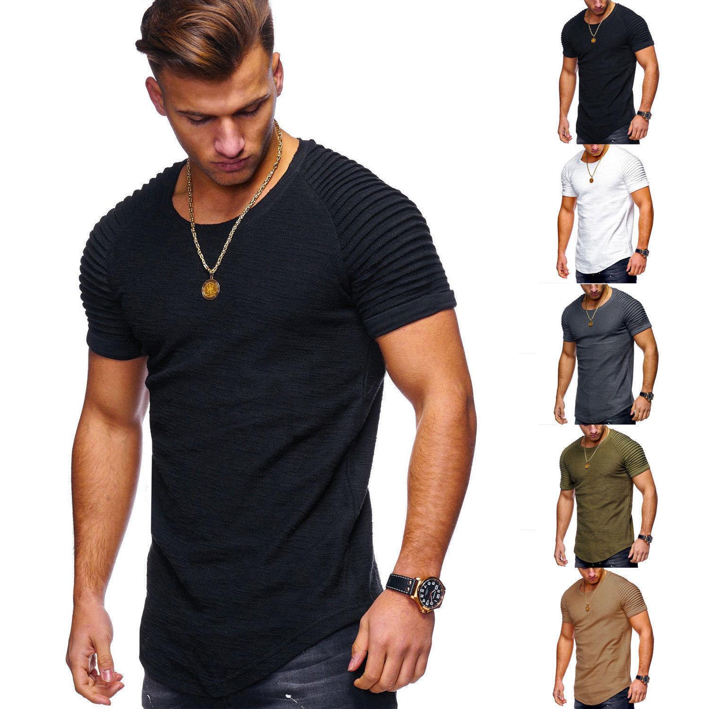 Men Henley Neck Short Sleeve T-Shirt Slim Plain Blouse Tops Summer Shirts Muscle