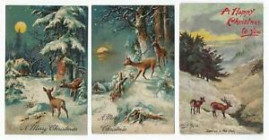 4-Postcard-Lot-Christmas-Harry-Payne-Winter-Snow-Deer-Moonlight-Tuck-1908