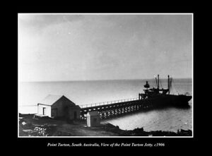 OLD POSTCARD SIZE PHOTO POINT TURTON SOUTH AUSTRALIA THE JETTY c1906