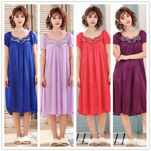 Ladies Soft Silky Satin Sleepwear Short Sleeve Night Gown Pajamas Nightwear Pink Ebay