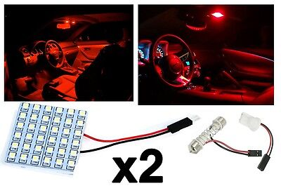 2x T10 Festoon 36-SMD Plasma Red LED Panel Interior Dome Map Replacement Light
