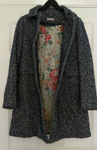 Cath-Kidston-Ladies-Blue-Wool-Blend-Tweed-Floral-Lined-Winter-Coat-UK-Size-10