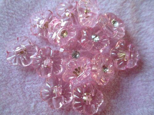 10 X 13MM Bebé Rosa Acrílico Y Cristal Flor Flor agujero posterior Coser en los botones