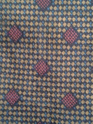 Mens Vintage Necktie Gold Blue with Red Squares Sa