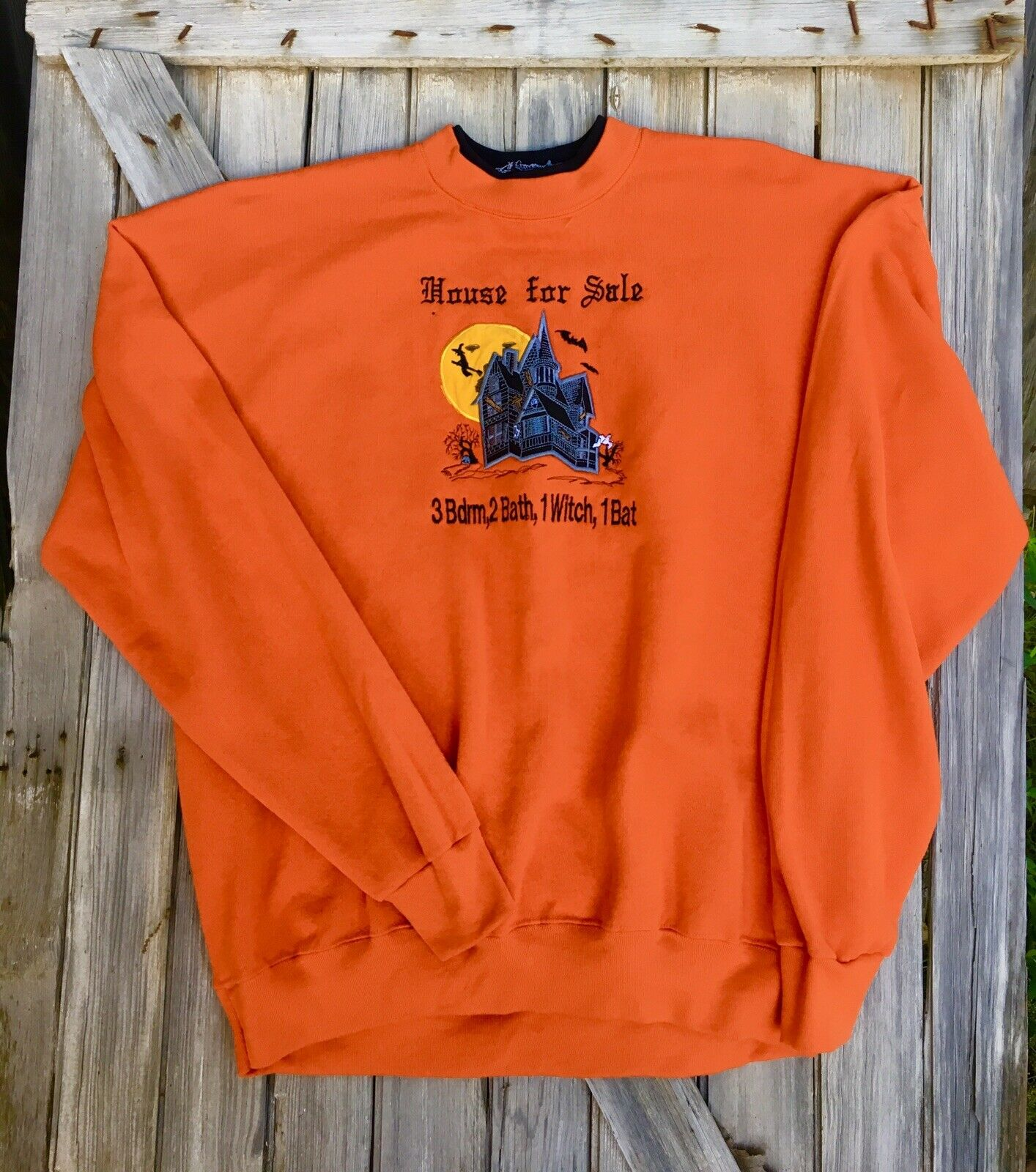 Vintage 1990s 2X Halloween Sweatshirt American Sportswear Tag Embroidered