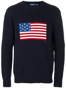Details zu Ralph Lauren Polo Marineblau Baumwolle USA Amerikanische Flagge Pullover Neu