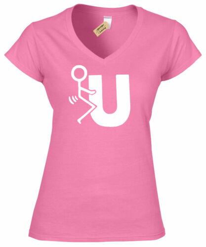 Womens F You T Shirt Funny rude joke novelty tee gift ladies top gift v neck