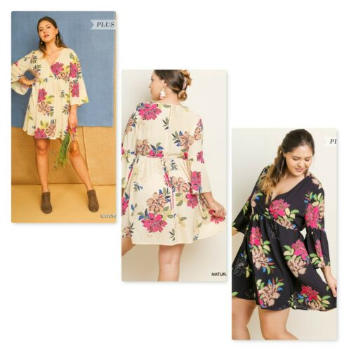 Print Floral Tie Womens Plus 1xl colori 2 Dress 2xl Waist Bell Umgee Xl Sleeve 5YwExSYg