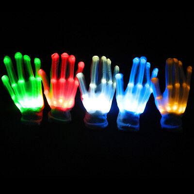New Clubbing Dance Halloween Flashing LED Gloves Light Up Fancy Dress