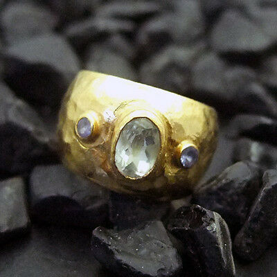 Handmade Hammered White Topaz Ring With Tanzanite 22K Gold over Sterling Silver